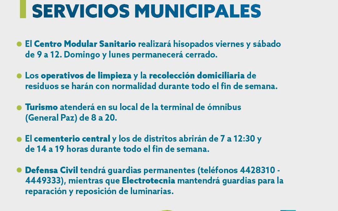 SERVICIOS MUNICIPALES DURANTE EL PRÓXIMO FIN DE SEMANA EXTRALARGO